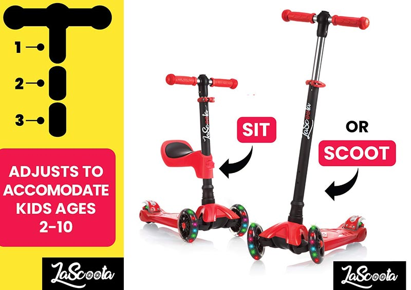 Lascoota 2-in-1 Kick Scooter for Kids & Toddlers Girls or Boys